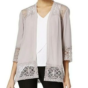 NY Collection Floral Embroidery Cardigan Top